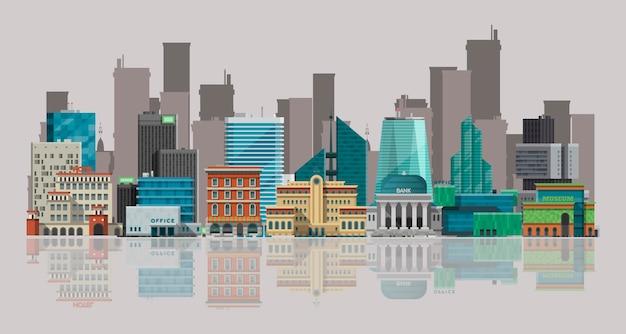 Stadtbild-vektor-illustration. stadtlandschaft mit großen modernen gebäuden