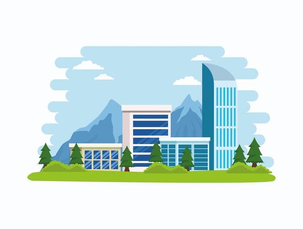 Stadtbildgebäude und naturlandschaft