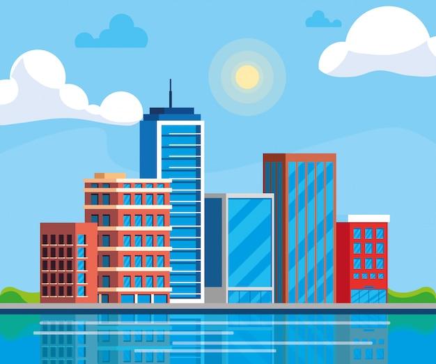 Stadtbildgebäudetageszene