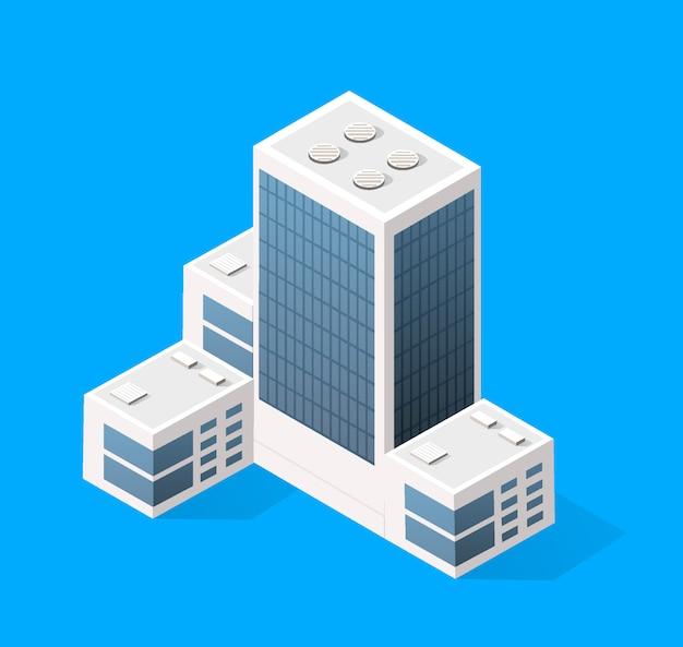 Stadtbildgestaltungselemente mit isometrischem gebäude
