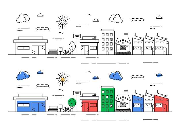 Stadtbildillustration im linienstilkonzept