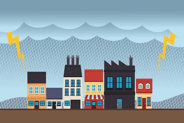 Stadtbildszene des klimawandeleffekts mit elektrischer sturmillustration