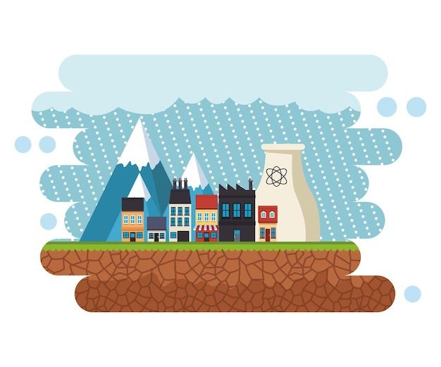 Stadtbildszene des klimawandeleffekts mit regnerischer illustration Premium Vektoren