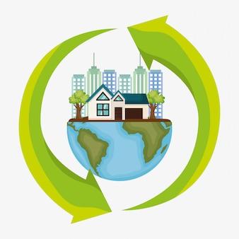 Stadtbildszene umweltfreundlich