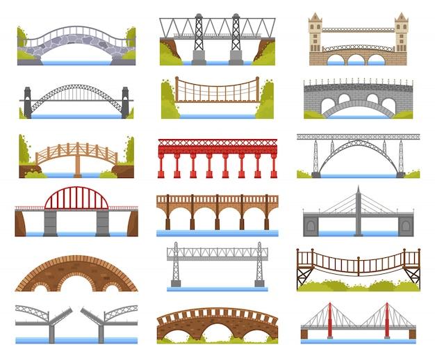 Stadtbrücke. urban crossover bridge konstruktion, fachwerk und gebundene bogenflussbrücke, fahrbahnarchitekturillustrationsikonen gesetzt. bogenbau städtische, eisenbahnbaubrücke