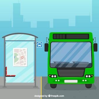 Stadtbus und bushaltestelle mit flachem design