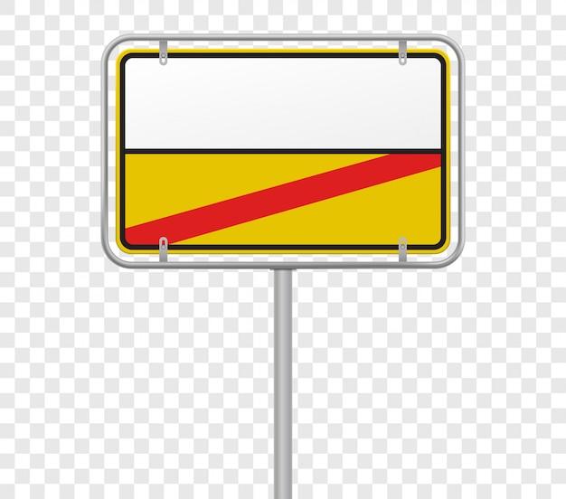 Stadteingang und -ausgang, stadtlimit-straßenschildschablone. deutsche gelbe und weiße stadtgrenzeintritts- und -ausgangsstraßenschildschablone