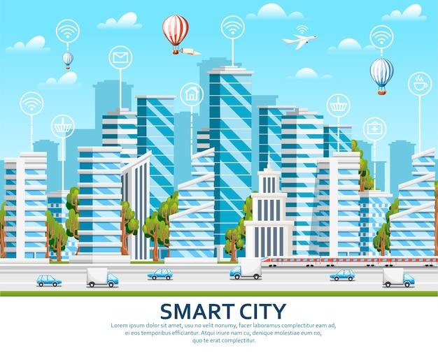 Stadtelemente mit grünen bäumen. smart city-konzept mit smart services und icons, internet der dinge. illustration auf himmel mit wolkenhintergrund. website-seite und mobile app.