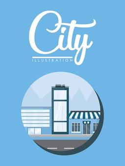 Stadtelemente mit stadt gebäuden und speichern