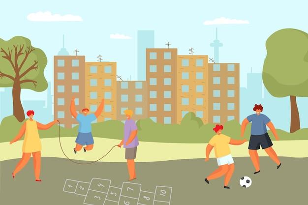 Stadterholung für menschen vektorillustration mädchen junge charakter spielen im freien im städtischen park junge k...
