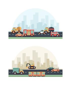 Stadtfahrzeuge. gebäude und verschiedene kraftstoffmaschinen auf straßen farbigem flachem stadtbildhintergrund