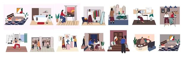 Stadtfrau alltag eingestellt. junges mädchen schlafen, baden, frühstücken, arbeiten, freunde treffen, ins fitnessstudio gehen, einkaufen, ausstellungen, romantisches date und zu hause entspannen. tägliche routine.