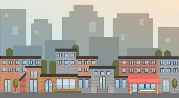 Stadtgebäude beherbergt stadtansicht-schattenbild-skyline-hintergrund