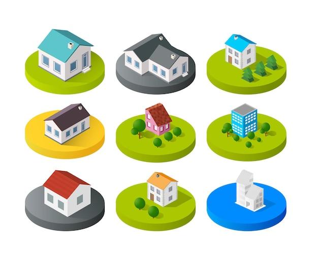 Stadtgebäude des isometrischen vektors 3d-symbol für webkonzeptsatz, der haus einschließt