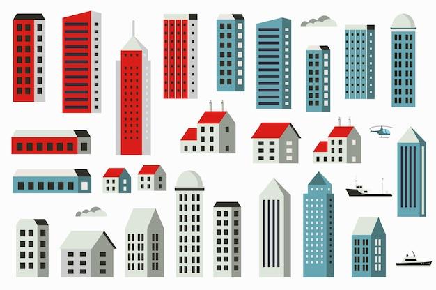 Stadtgebäude in einem flachen stil der häuser und illustration