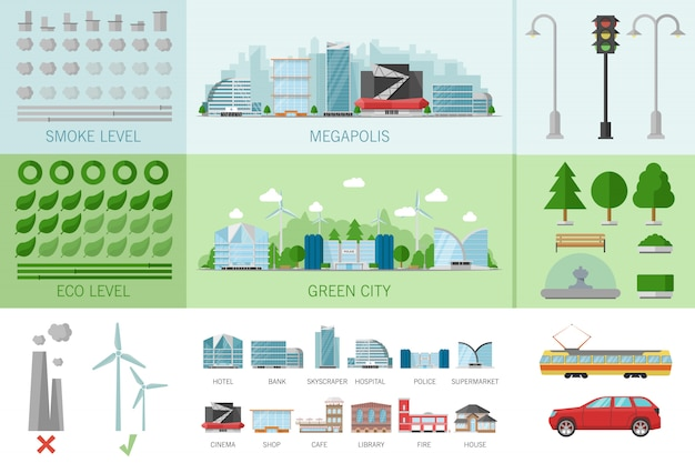 Stadtgebäude infografik