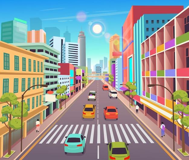 Stadtgebäude mit geschäftenvektorillustration im cartoon-stilstädtische wolkenkratzer-gebäudeansicht Premium Vektoren