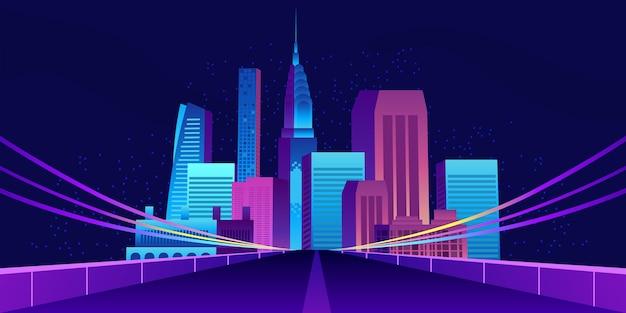 Stadtgebäude und wolkenkratzer mit straßenstraßenillustration mit dunklen nachttönen
