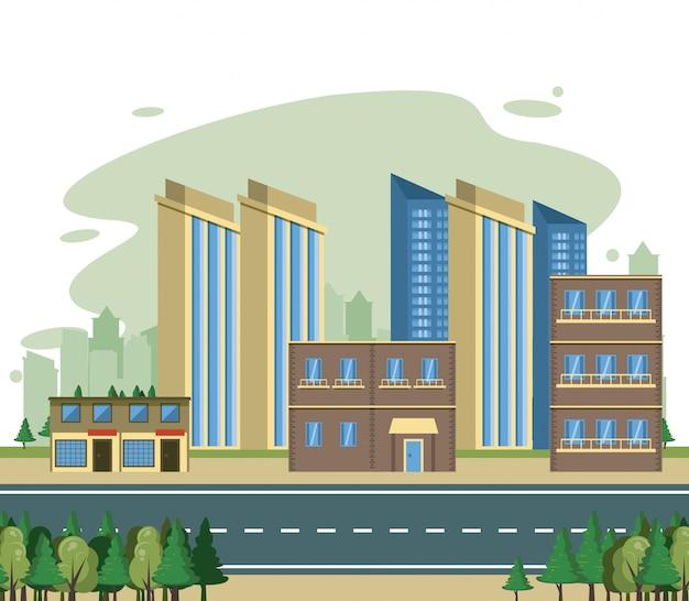 Stadtgebäudestadtbild-ansicht scenary