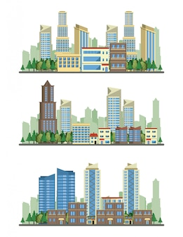 Stadtgebäudestadtbild-ansichtszenarien
