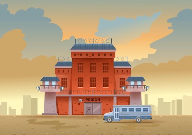Stadtgefängnisgebäude mit zwei wachtürmen auf einem hohen backsteinzaun mit stacheldraht