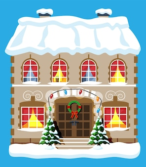 Stadthaus mit schnee bedeckt