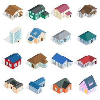 Stadthaushäuschen und sortierte immobiliengebäudeikonen stellten in isometrische art 3d ein