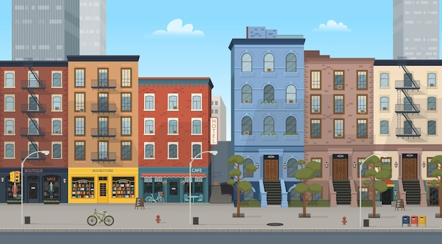 Stadthaushäuser mit geschäften: boutique, café, buchhandlung. illustration mit stil. hintergrund für spiele und mobile anwendungen.