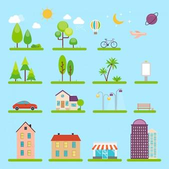 Stadtillustration im stil. ikonen und illustrationen mit gebäuden, häusern und architekturschildern. ideal für business web publikationen, grafik.