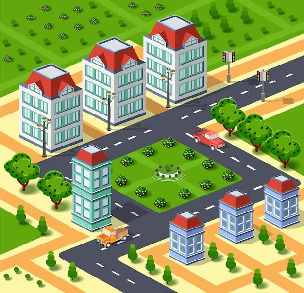 Stadtillustration mit städtischer infrastruktur. isometrische stadt. isometrische ansicht