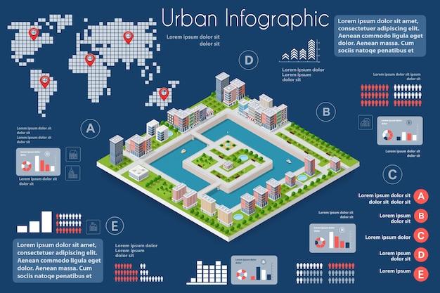 Stadtinfografiken der stadt mit häusern