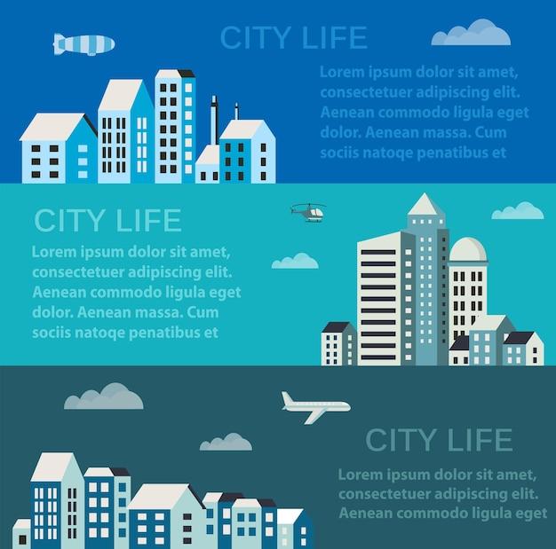 Stadtinfografiken im flachen stil der häuser und gebäude