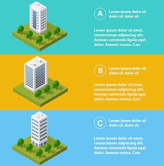 Stadtinfografiken in isometrischer form mit wolkenkratzern, straßen und bäumen.