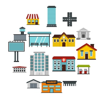 Stadtinfrastruktureinzelteile stellten flache ikonen ein