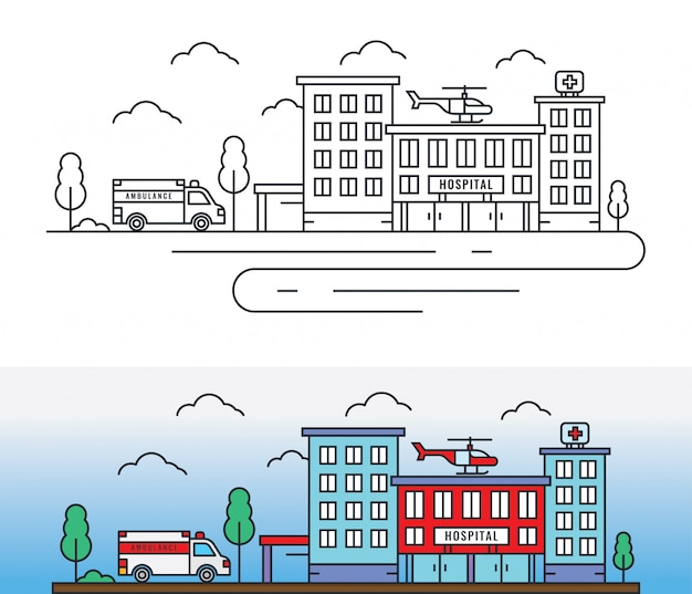 Stadtkrankenhausgebäude mit krankenwagen und hubschrauber in dünner linienart