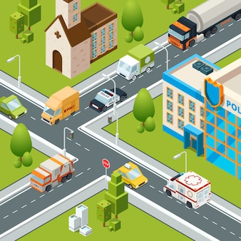 Stadtkreuzung verkehr. schneidet autos, die isometrische stadtlandschaftsillustrationen der überfahrtstraßensicherheitszebrasymbole bewegen