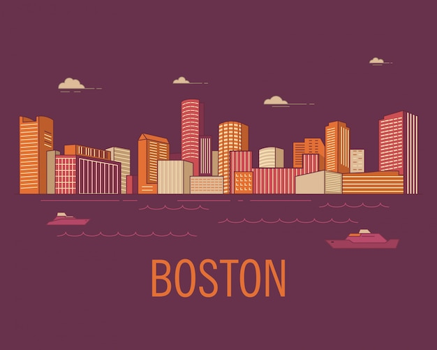 Stadtlandschaft boston mit wolkenkratzern im stil.