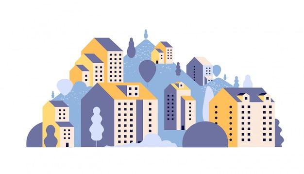 Stadtlandschaft. minimale wohnhäuser in sommerlicher berglandschaft.