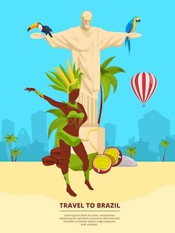 Stadtlandschaft mit brasilianischen wahrzeichen und symbolen. banner vorlage