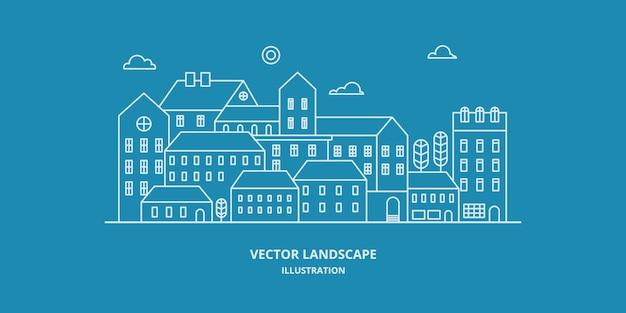 Stadtlandschaft mit gebäude, haus und baum. stadtbild. dünne linie stil illustration.