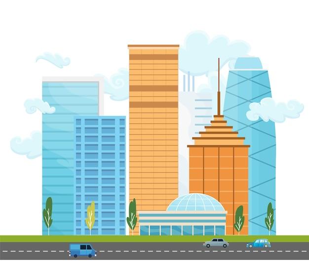 Stadtlandschaft mit gebäuden und bäumen. stadtlandschaft mit modernen wolkenkratzern und straße mit autos. minimaler geometrischer flacher stil.