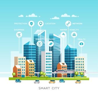 Stadtlandschaft mit gebäuden, wolkenkratzern und verkehrsverkehr. konzept der intelligenten stadt mit verschiedenen symbolen. illustration.