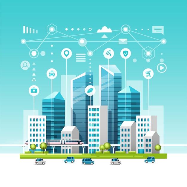 Stadtlandschaft mit gebäuden, wolkenkratzern und verkehrsverkehr. konzept der intelligenten stadt mit verschiedenen symbolen.