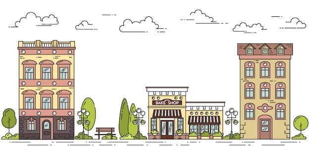 Stadtlandschaft mit häusern, café, bäumen, wolken. vektor-illustration flache linie kunst.