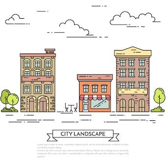 Stadtlandschaft mit häusern, café, bäumen.