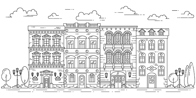 Stadtlandschaft mit häusern, park, bäumen, wolken. vektor-illustration flache linie kunst.