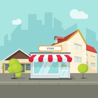 Stadtlandschaft mit häusern und gebäuden auf straße mit flacher karikatur des shop- oder speichervektors