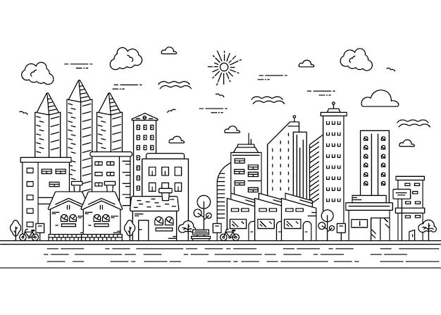 Stadtlandschaft mit hohen gebäuden im dünnen linienstil