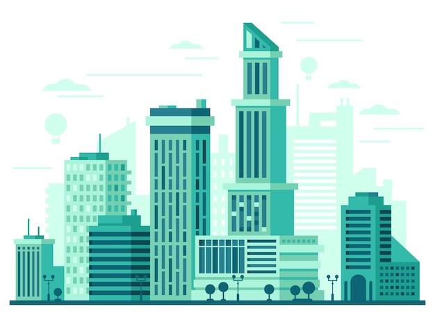 Stadtlandschaft mit hohen wolkenkratzern