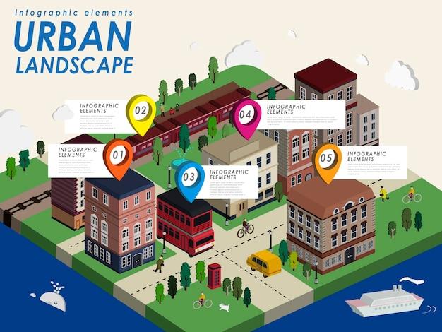 Stadtlandschaft mit schöner stadt im isometrischen flachen 3d-stil